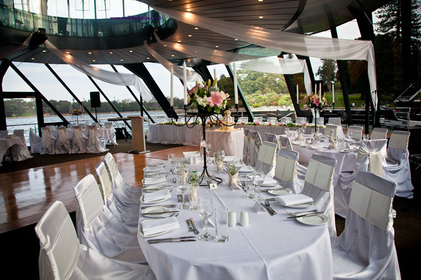 tables laid for wedding reception on Starship Sydney