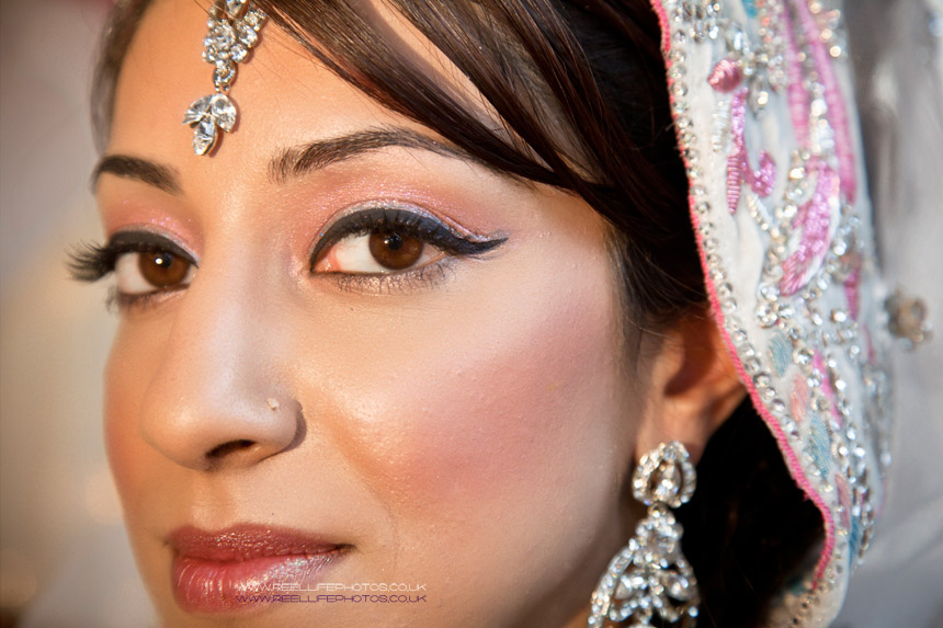 Close up of beautiful Asian bride from wedding in West Yorkshire