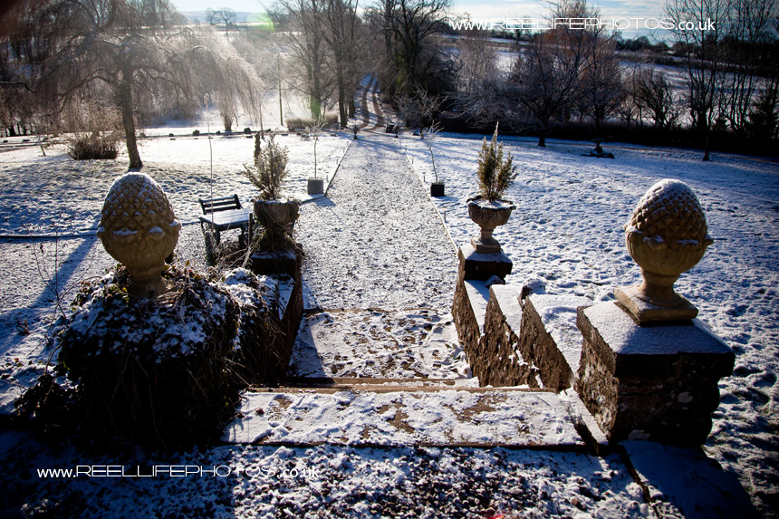 Snow in the grounds of Augill Castle
