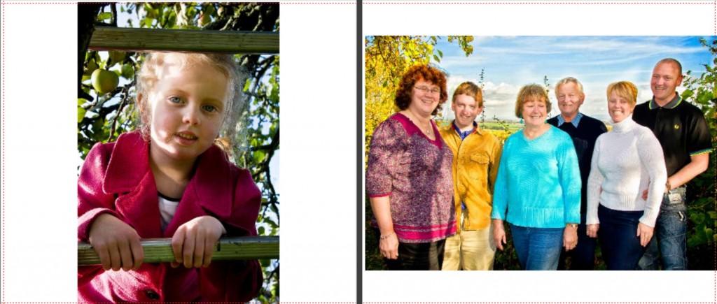 Family portraits in photo album
