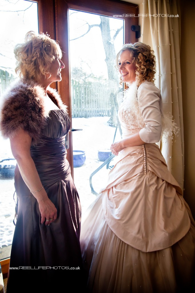 Matron of Honour with bride before the wedding