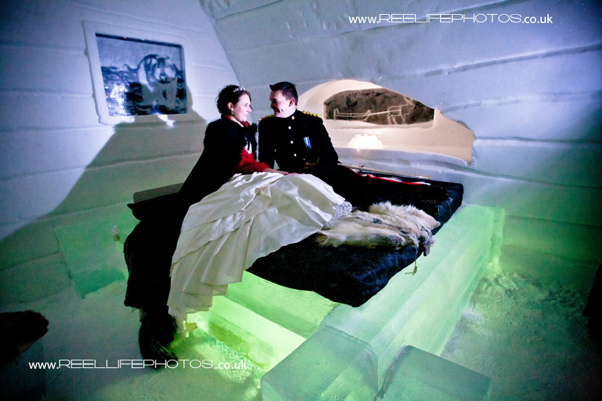 bride and groom in Production Team room a the Ice Hotel