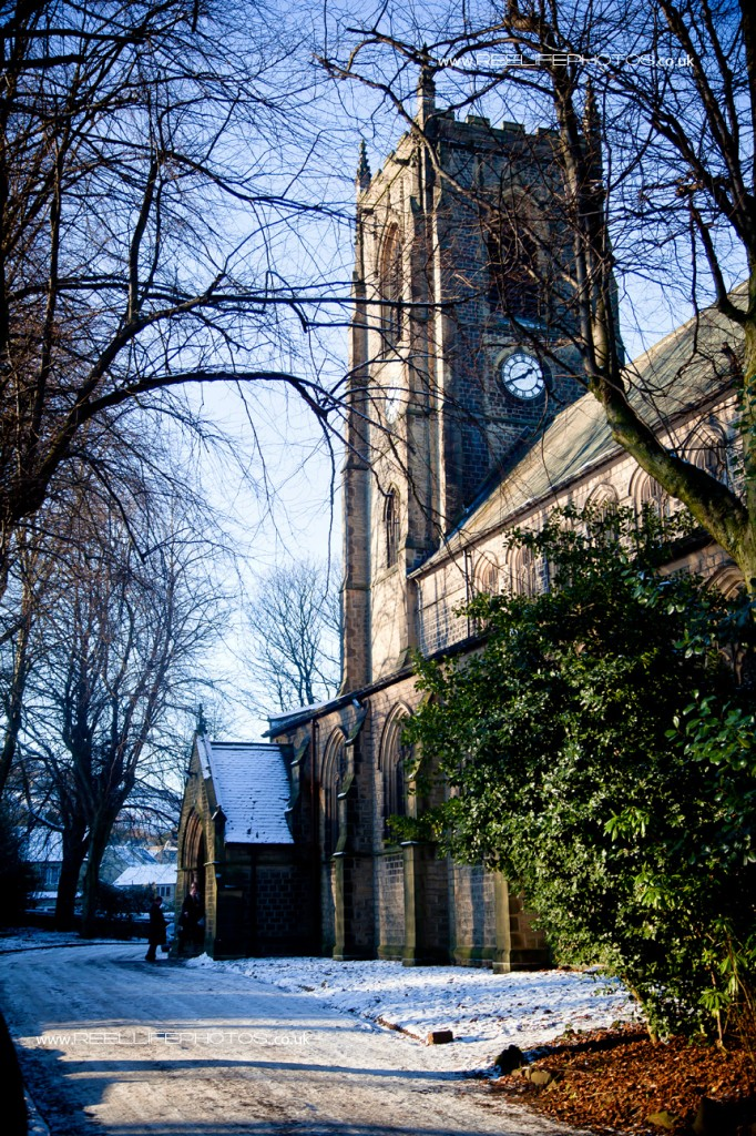 Snowy St. Baththolomews Church in Marsden 