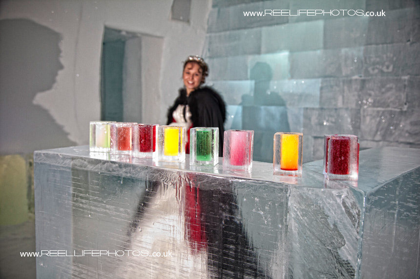 Colourful drinks at the Absolut Ice Bar in Jukkasjarvi,  Sweden