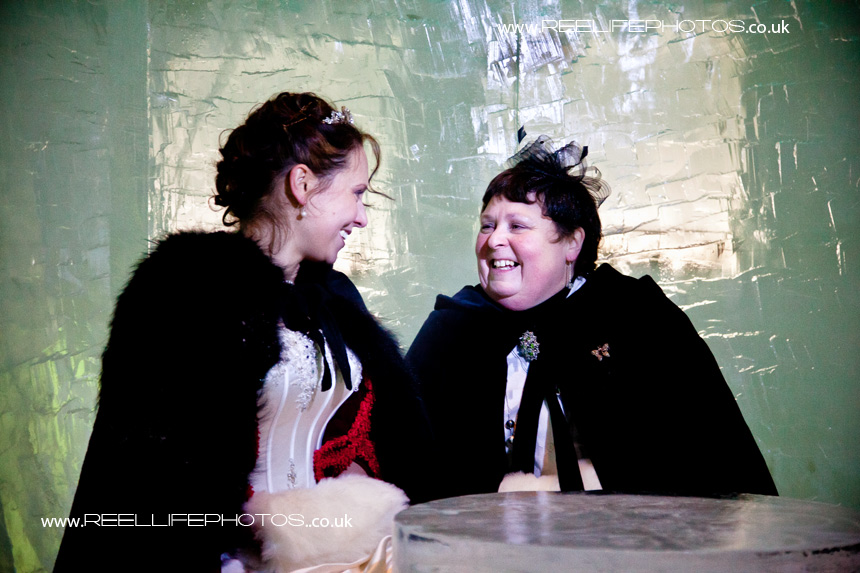 Bride and her Mum in the Ice Hotel Absolut Ice Bar