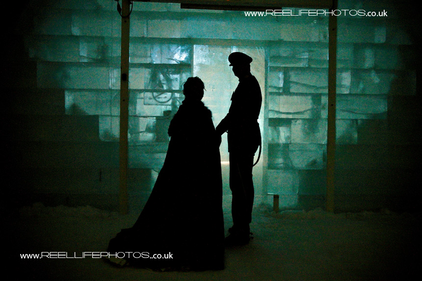 silhouetted Ice Hotel bride and groom