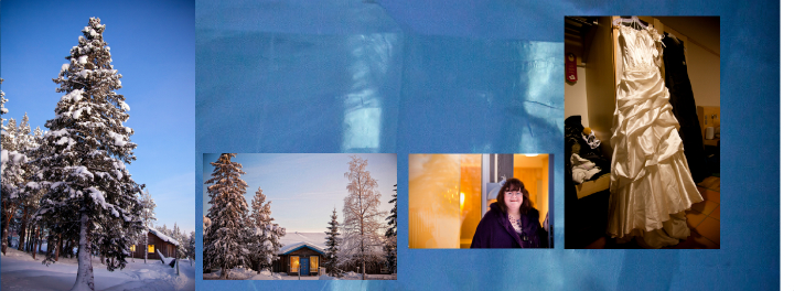 Ice Hotel Chalet no. 56 with bride's Stepmum by the door