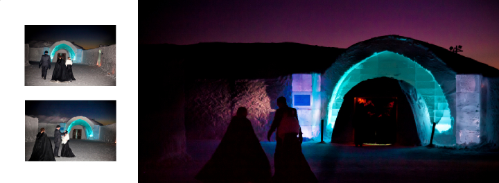 Brtidal party walks past The Ice Hotel at night on way to the Ice Chapel