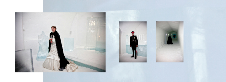 Bride inside Ice Chapel and photo of the Best Man