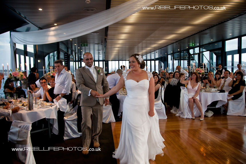 bride and groom's grand entrance to wedding reception on Starship Sydney