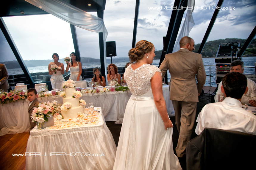 bride and groom onboard Starship Sydney at their wedding reception