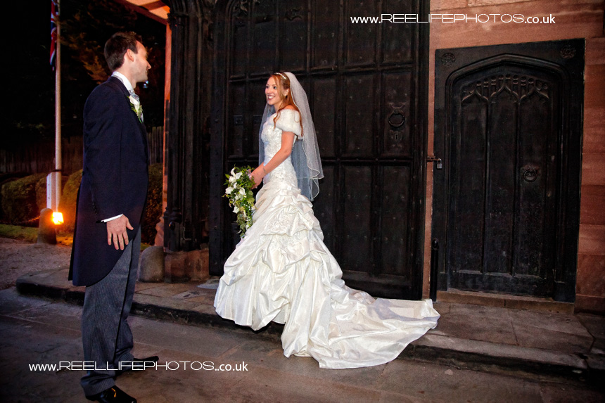 Winter wedding at Thornton Manor: outside main gates