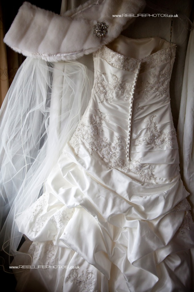 wedding dress, veil and winter shrug
