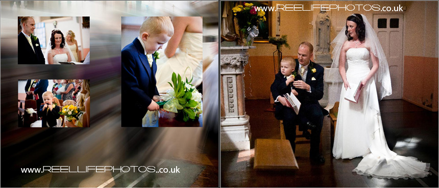 pageboy up to mischief during the weding ceremony