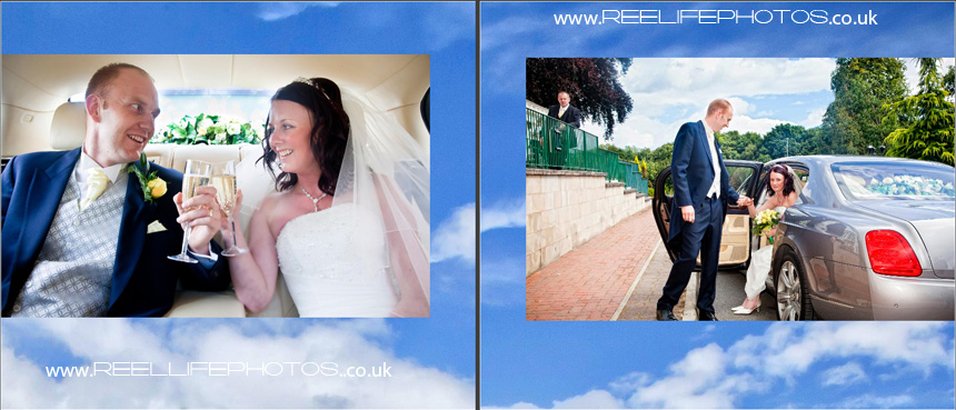 wedding storybook album - newleyweds arrive at Gomersal Park Hotel