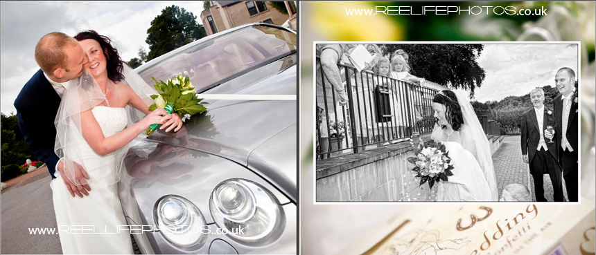storybook album with confetti and wedding car
