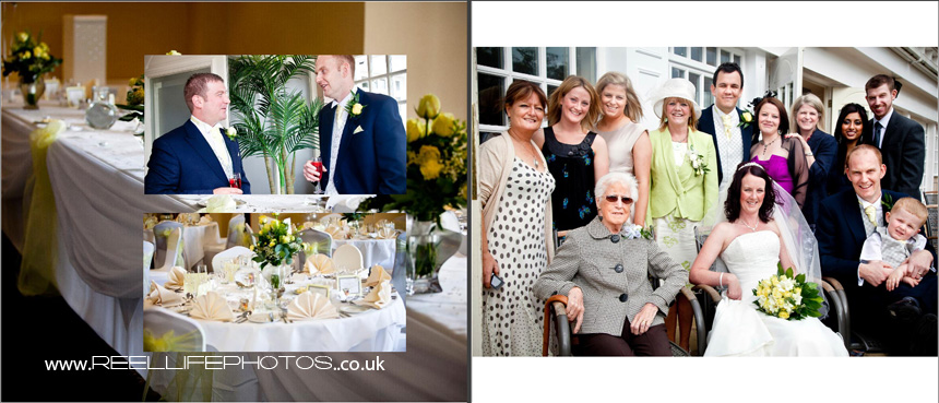 pics of Table layout at wedding venue, best man with groom, & Bride's family photo