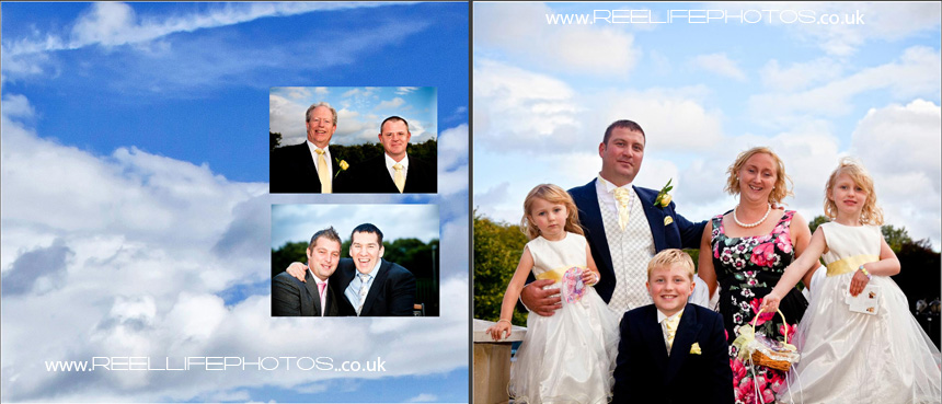wedding photos outside Gomersal Park Hotel with sky background