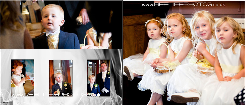 wedding storybook album layout from church wedding reception at Gomersal