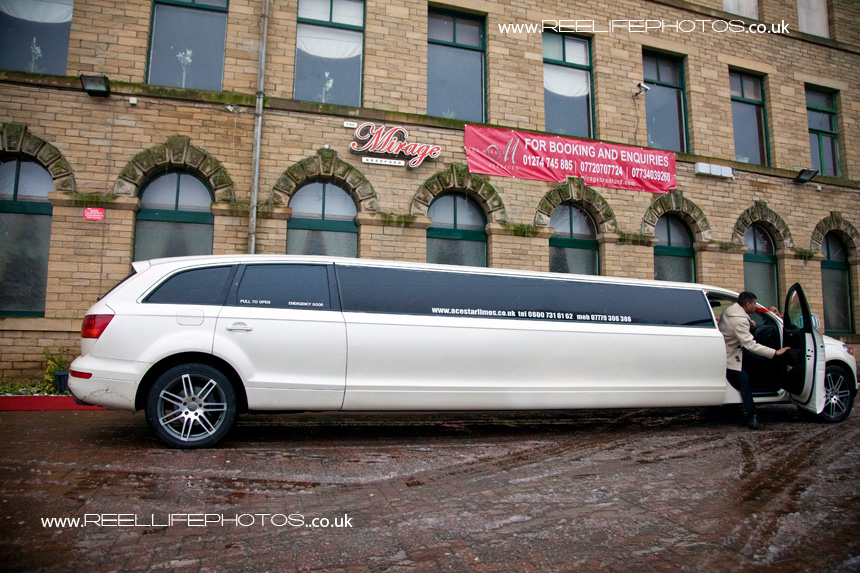 limo arrives at the Mirage - luxurious Asian wedding venue in Bradford