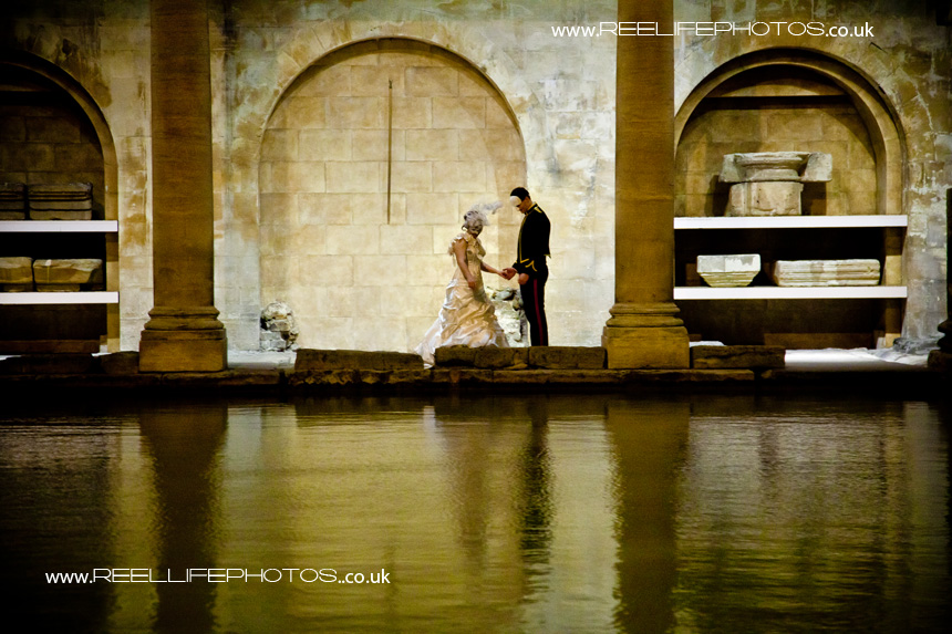 Masked Bride and Groom at Pumphouse Roman Baths