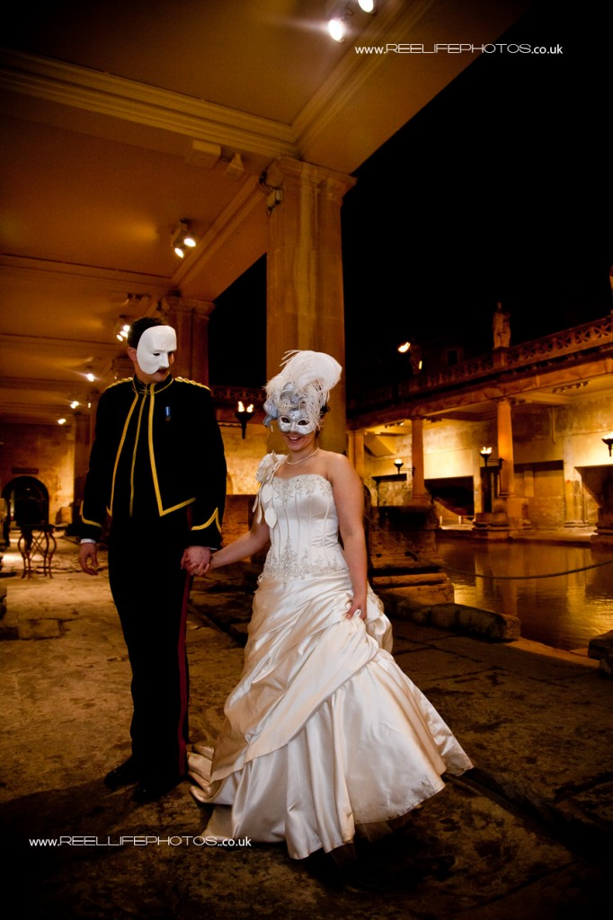 Masked Ice Hotel bride and groom at Pumphouse in Bath for UK wedding reception