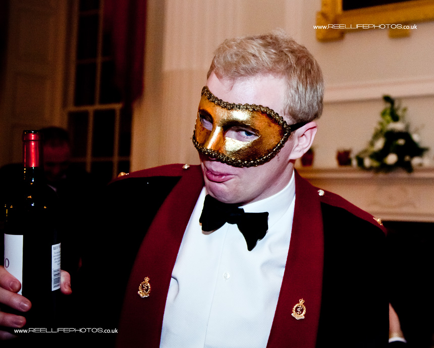 bow tie , white shirt and mask at wedding reception in Bath