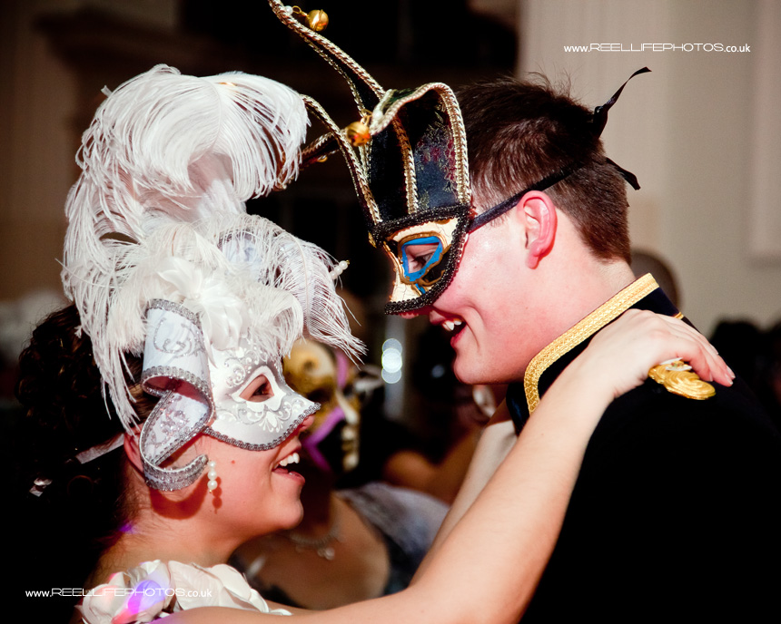 masked first dance at evening wedding reception in Bath