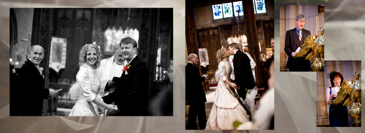kiss in church after winter wedding ceremony