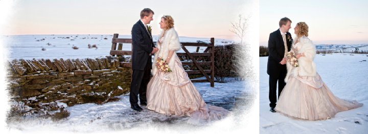 winter wedding photos outside the Huntsman Inn in the snow