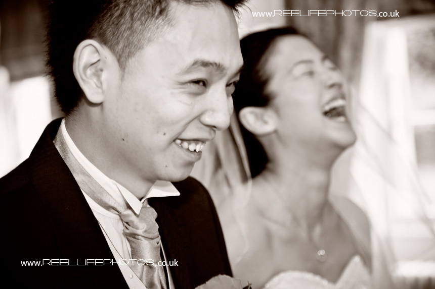 laughter during wedding ceremony in Leeds