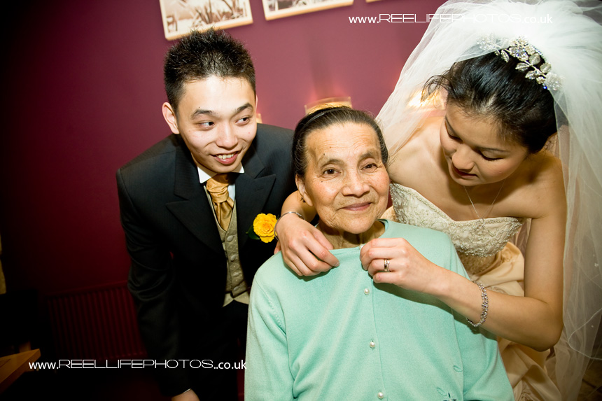loving wedding picture with Chinese Grandma