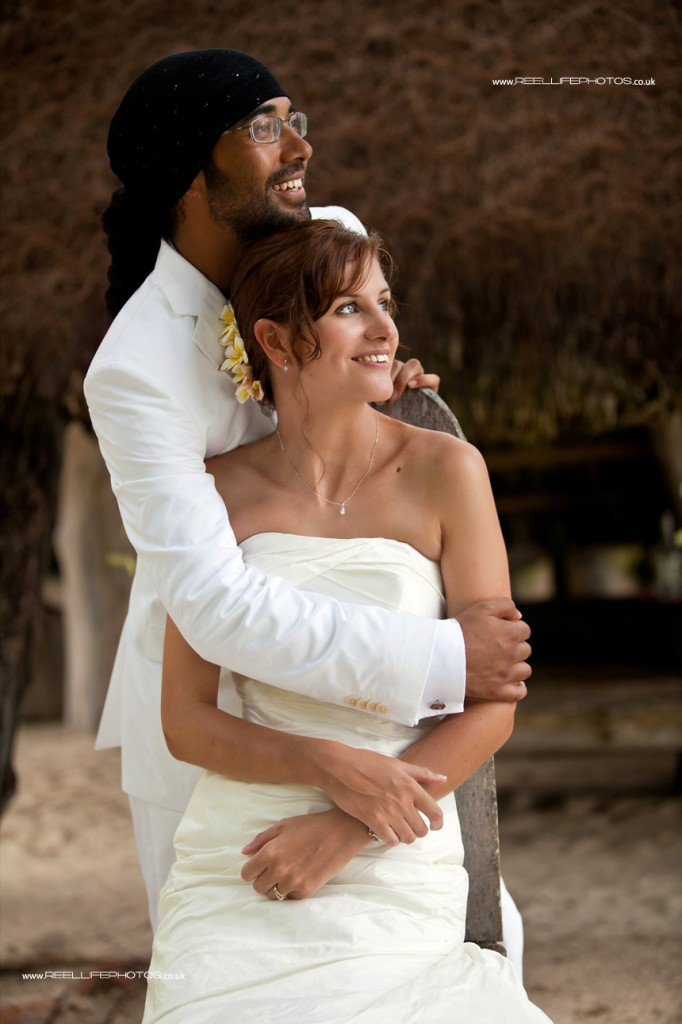 bride and groom at their wedding reception in the Seychelles