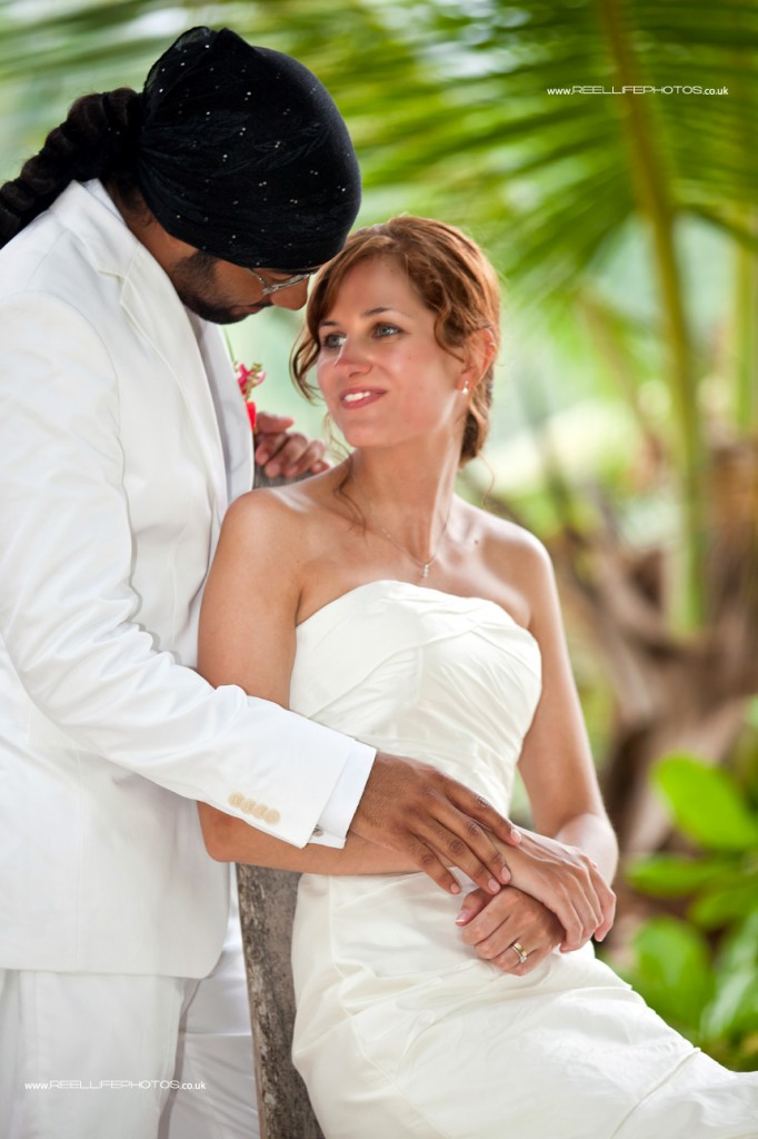 Loving bride and groom in the Seychelles