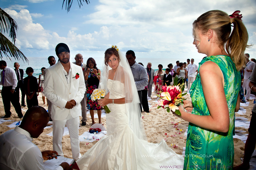 beach wedding ceremony in the Seychelles