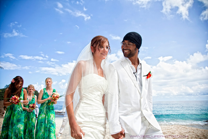 Lauren and Trevor have just got married on the beach in the Seychelles