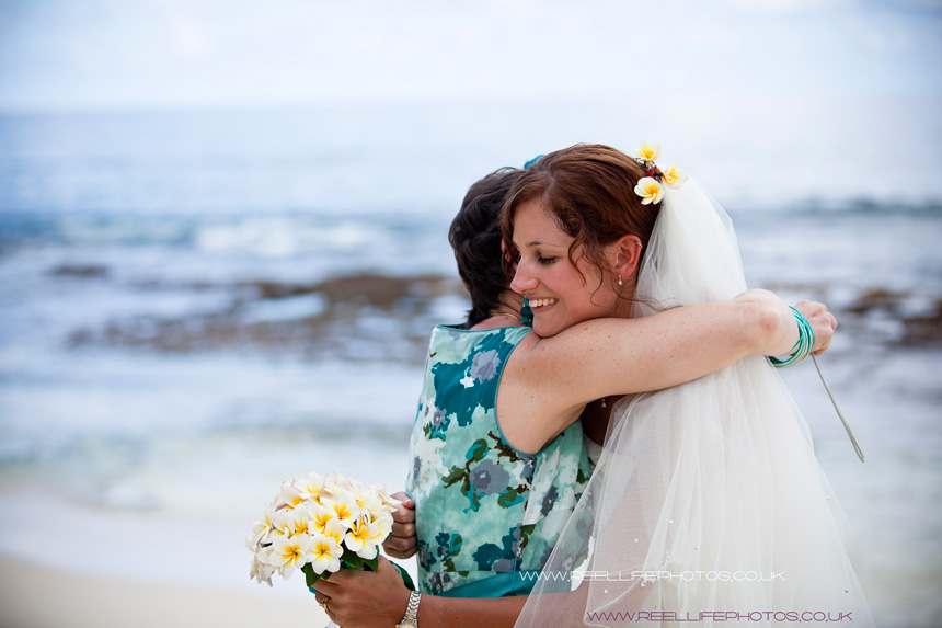 beach wedding in the Seychelles with bride and her Mum