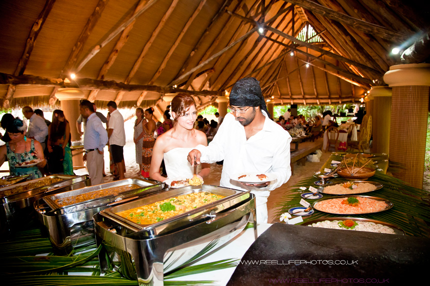 delicious Seychelles wedding meal at Cap Lazare