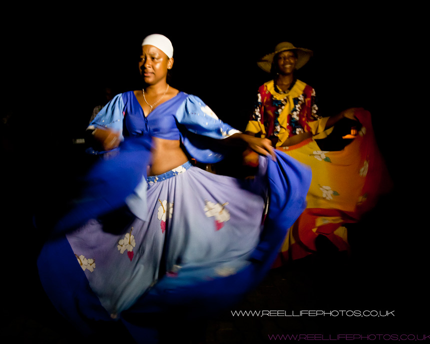Creole dancers at wedding at night