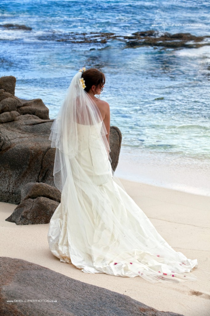 romantic bride after beach wedding looking out to the sea in the Seychelles