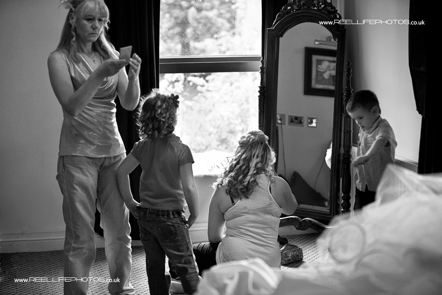 black and white reportage wedding picture at Waterton Park Hotel