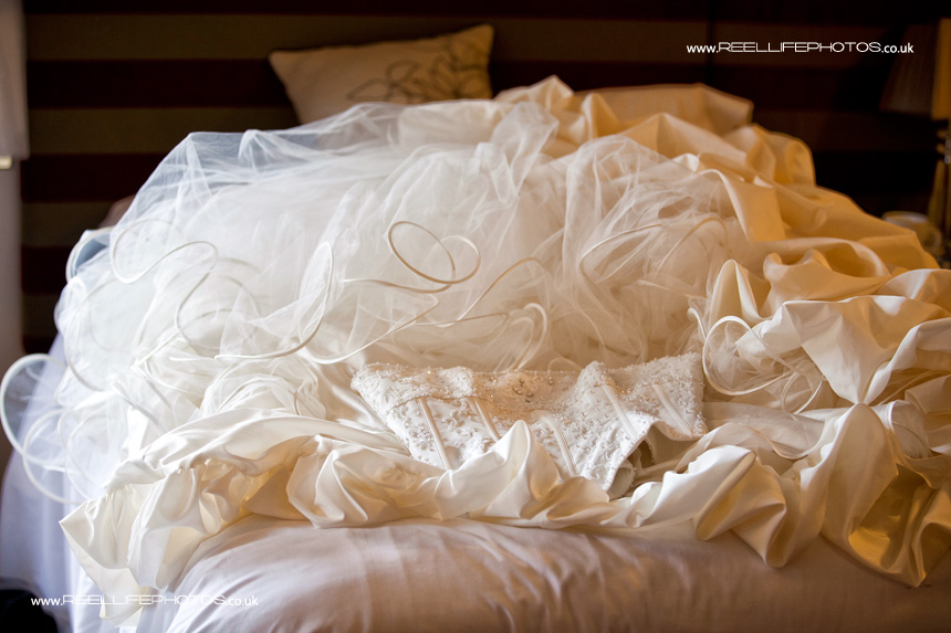 unusual 2 piece wedding dress on the bed