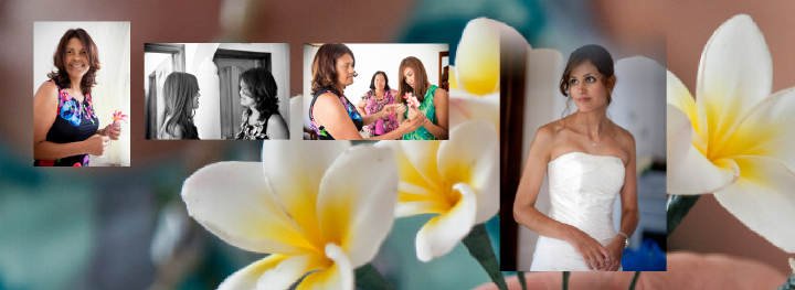 Groom's Mum and sister on background of Frangipani flowers for the wedding