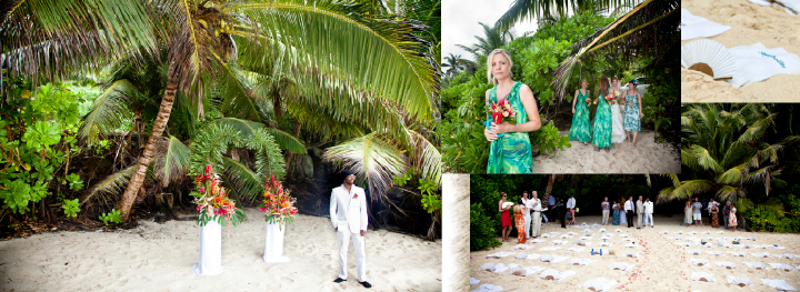 bridesmaids and bride walkking down flower-strewn beach aisle