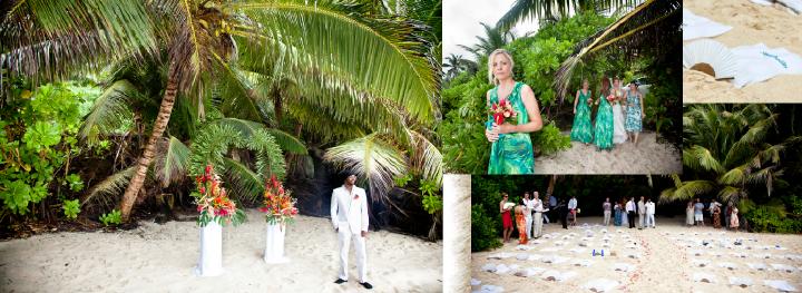 bridesmaids and bride walkking down flower-strewn beach aisle