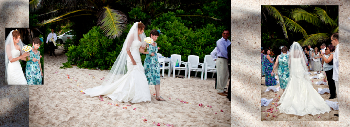 Seychelles beach wedding ceremony  begins