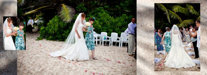 Seychelles beach wedding ceremony  begins