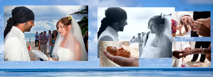 beach wedding with rings in a twin shell