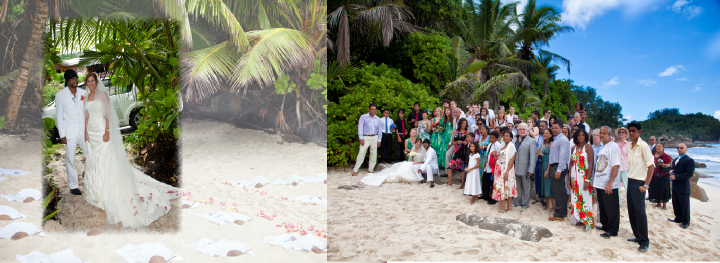 formal wedding pictures on the beach