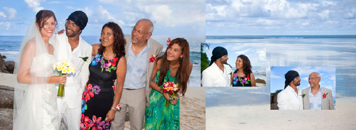 Groom's family wedding picture son beach in the Seychelles